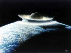 Illustration of an asteroid impact with the Earth