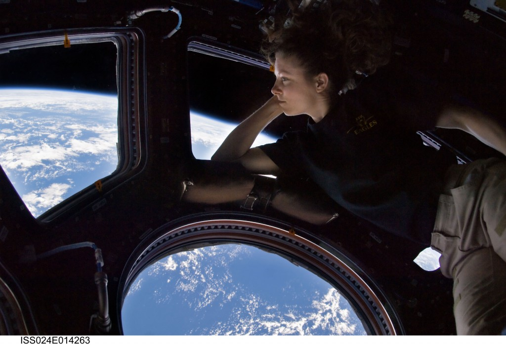 Astronaut Tracy Caldwell Dyson inside the European built Cupola (NASA)