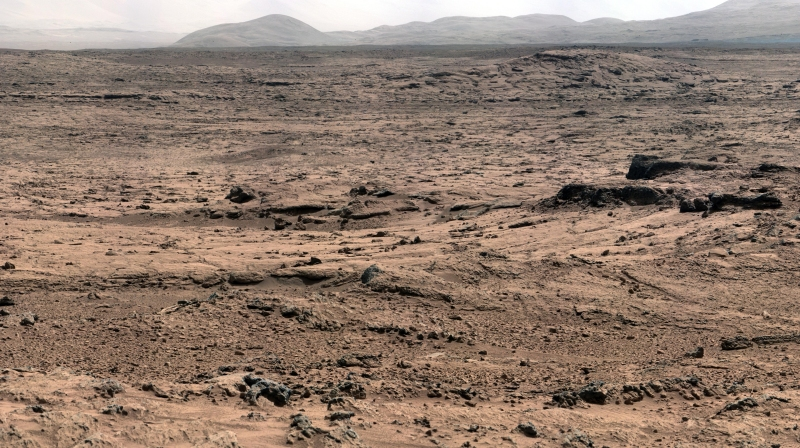 "This panorama is a mosaic of images taken by the Mast Camera (Mastcam) on the NASA Mars rover Curiosity while the rover was working at a site called ""Rocknest"" in October and November 2012 (NASA)"