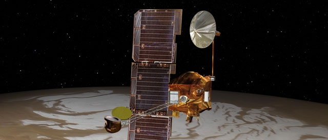 NASA's Mars Odyssey spacecraft passes above Mars' south pole in this artist's concept. (NASA/JPL )