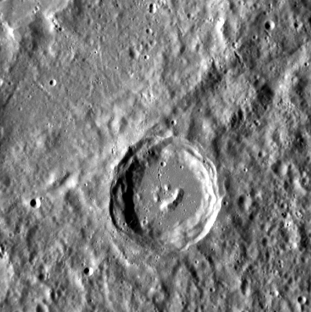 This complex crater has formed in such a way that it resembles a smiling face (NASA/Johns Hopkins University Applied Physics Laboratory/Carnegie Institution of Washington)
