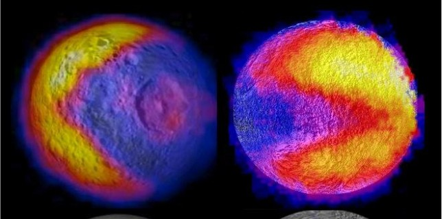 "Scientists with NASA's Cassini mission have spotted two features shaped like the 1980s video game icon ""Pac-Man"" on moons of Saturn. One was observed on the moon Mimas in 2010 and the latest was observed on the moon Tethys (NASA/JPL-Caltech/GSFC/SWRI) (thumb)"