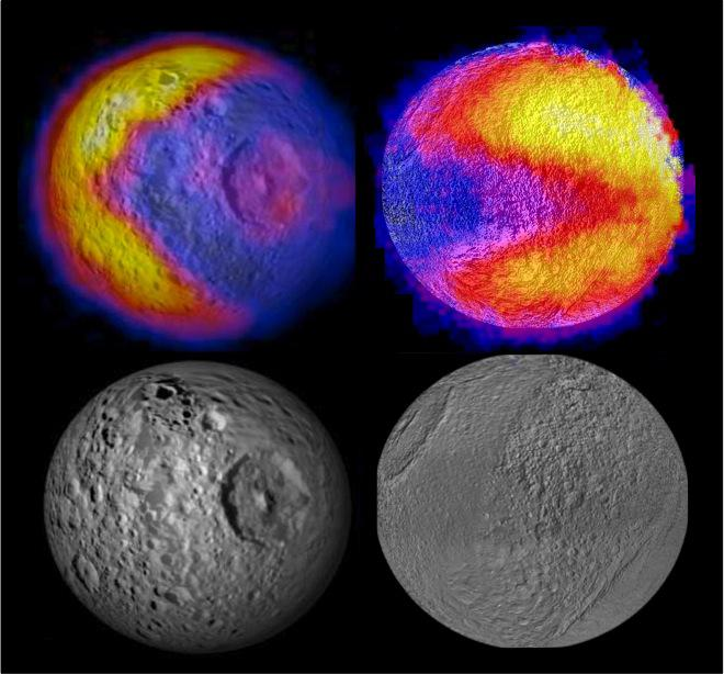 "Scientists with NASA's Cassini mission have spotted two features shaped like the 1980s video game icon ""Pac-Man"" on moons of Saturn. One was observed on the moon Mimas in 2010 and the latest was observed on the moon Tethys (NASA/JPL-Caltech/GSFC/SWRI)"