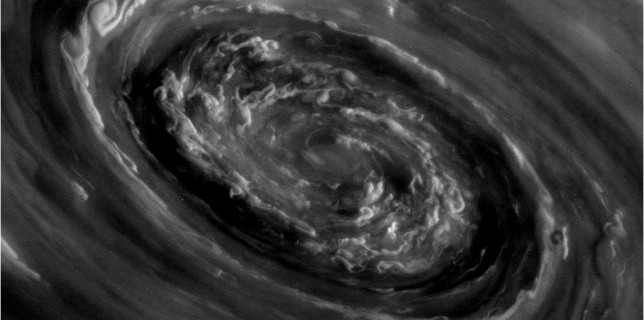 Swirling clouds at the north pole of Saturn (NASA)