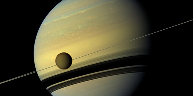 Natural color view of Titan and Saturn from Cassini spacecraft (NASA)