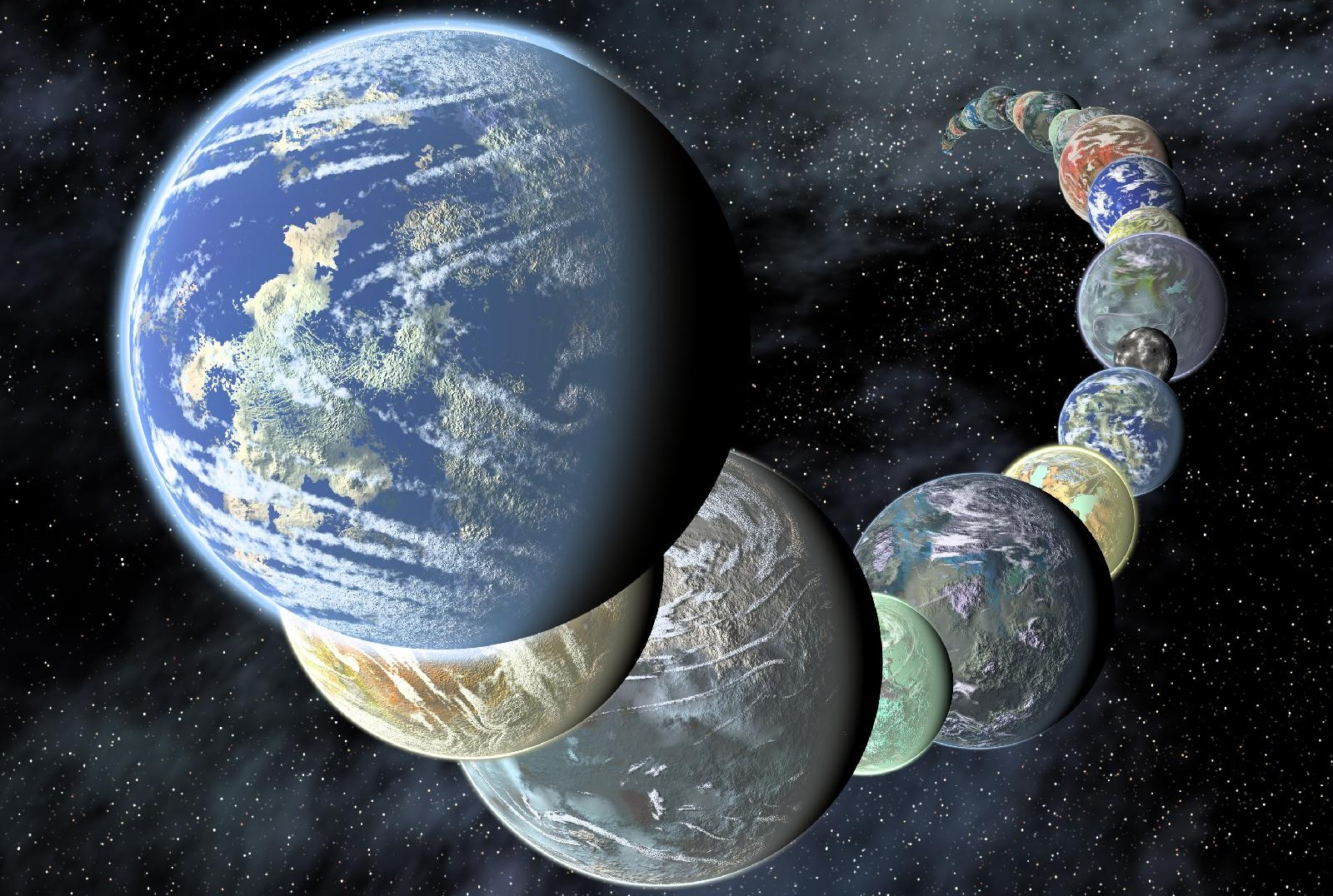 An assortment of planets beyond our solar system is depicted in this artist's concept (NASA/Ames/JPL-Caltech)