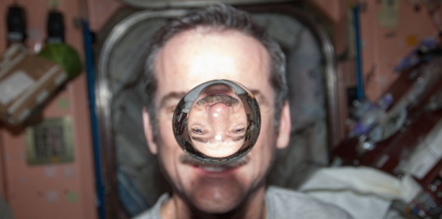 Canadian Space Agency astronaut Chris Hadfield, Expedition 34 flight engineer, watches a water bubble float freely between him and the camera, showing his image refracted, in the Unity node of the International Space Station. (NASA)
