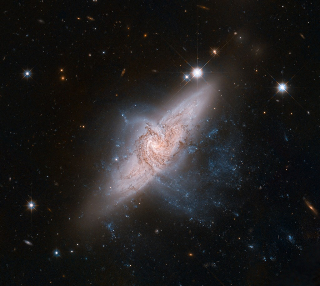 Overlapping galaxies called NGC 3314 (NASA/ESA Hubble)