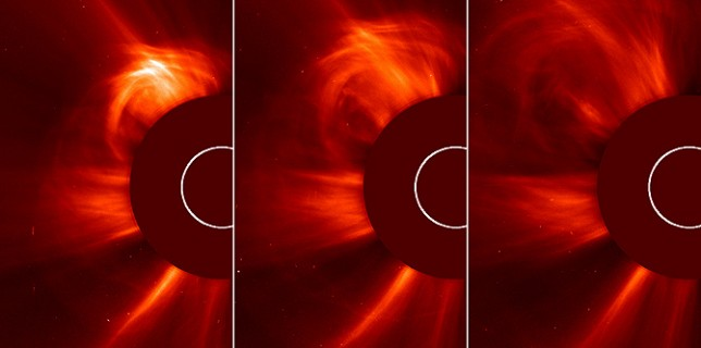 The ESA and NASA Solar Heliospheric Observatory (SOHO) captured these images of the sun spitting out a coronal mass ejection (CME) on March 15, 2013, from 3:24 to 4:00 a.m. EDT. This type of image is known as a coronagraph, since a disk is placed over the sun to better see the dimmer atmosphere around it, called the corona. (NASA/ESA)