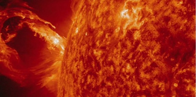 A coronal mass ejection from the Sun on May 1, 2013 (NASA)