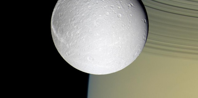 Photo of Dione and Saturn from Cassini (NASA)