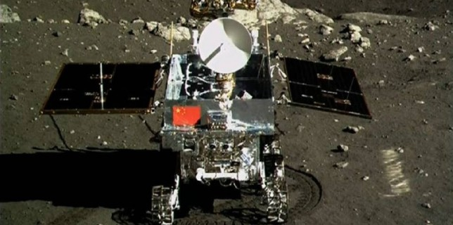 Yutu rover emblazoned with Chinese Flag as seen by the Chang'e 3 lander on the moon on Dec. 15, 2013 (China Space)
