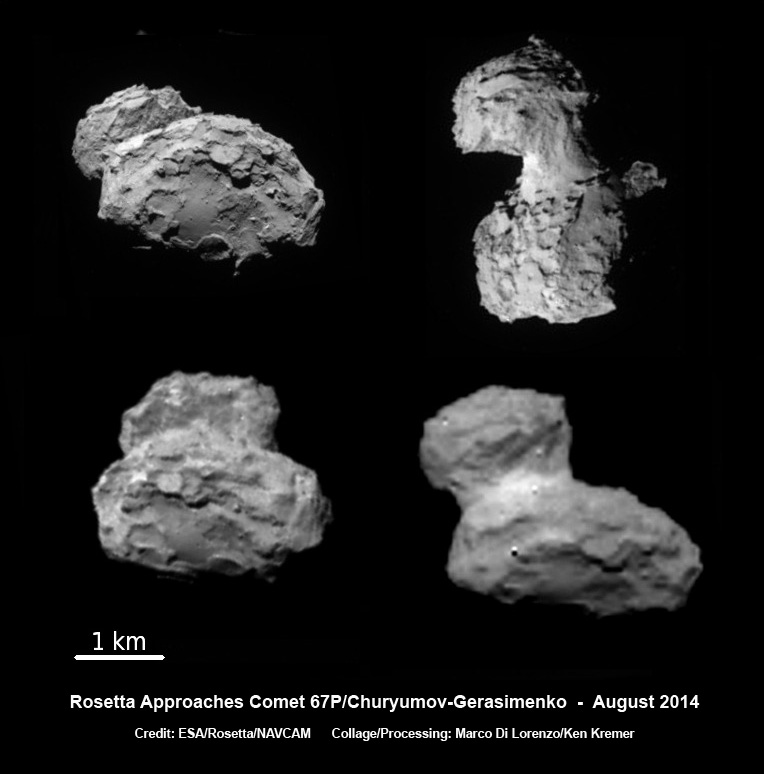 ESA's Rosetta spacecraft on final approach to Comet 67P/Churyumov-Gerasimenko in early August 2014. This collage of imagery from Rosetta was taken on Aug. 1, 2, 3 and 4 from distances of 1026 km, 500 km, 300 km and 234 km. (ESA/Rosetta)