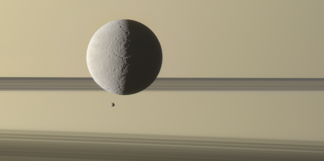 Saturn's moon Rhea, Epimetheus transiting (NASA/JPL)